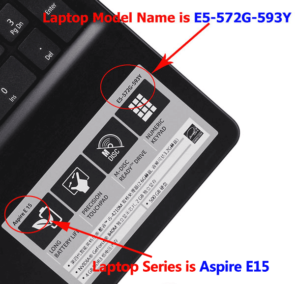 How do I find the model of my laptop?